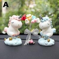Cute Cartoon Nodding Horse Pony Shaking Head Car Ornaments Auto Interior Decoration Pony Figurines Doll Toys Ornament