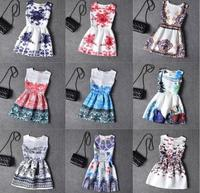 Newest 2016 Summer Girls Dresses Girls Designer Princess Dress Flower Print Kids Party Wear Formal Teenagers