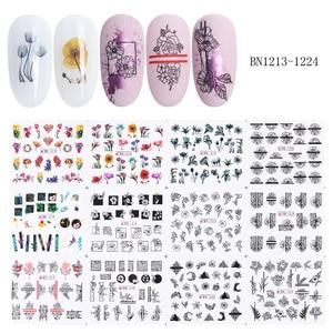 Image 5 - 36 個の花手紙ネイルステッカーデカール中空デザイン水転写ステッカーマニキュアラップ装飾スライダーセット LA974