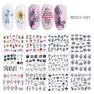 Image 5 - 36 adet çiçek mektup tırnak etiket çıkartmaları içi boş tasarım su transferi Sticker manikür sarma dekorasyon kaydırıcı Set LA974