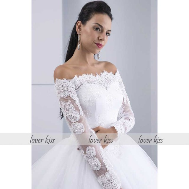 Vestidos de Noiva Ball Gown Lace Wedding Dress Long Sleeves Off Shoulder Tulle Puffy Bride Gowns Casamento Mariage