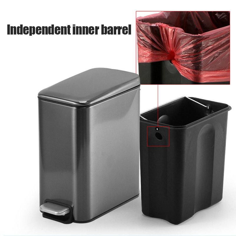 5 Liter Rectangular Small Steel Step Trash Can Wastebasket,Garbage Container Bin