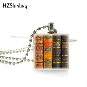 Womens Necklace Fashion Scrabble Game Tile Jewelry - Vintage Library Books Necklace- Scrabble Pendant Charm(China)
