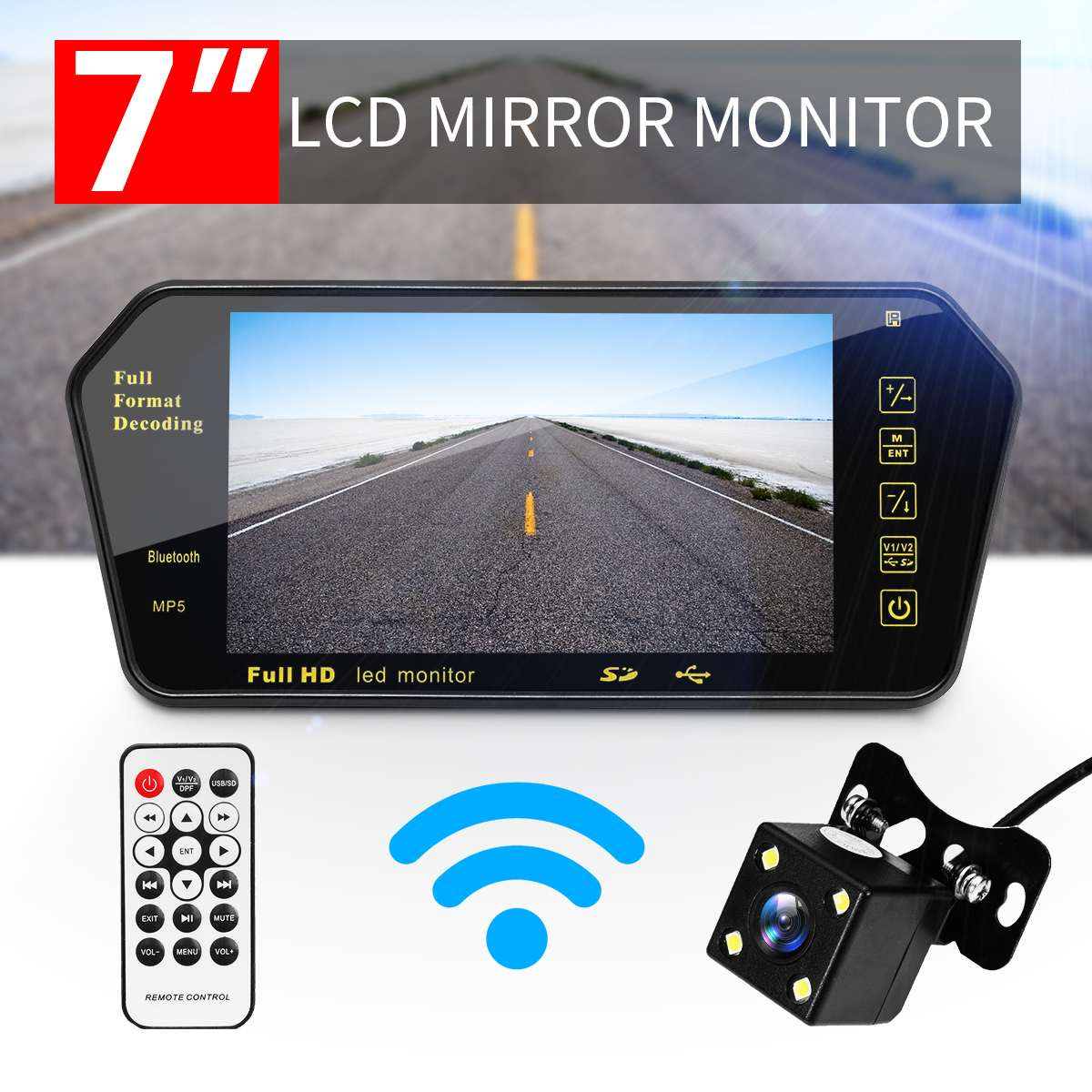 <font><b>7</b></font> <font><b>Inch</b></font> TFT LCD Car Rear View Mirror <font><b>Monitor</b></font> +Night Vision Reverse Car Camera bluetooth Packing System for Car Rearview <font><b>Monitors</b></font> image