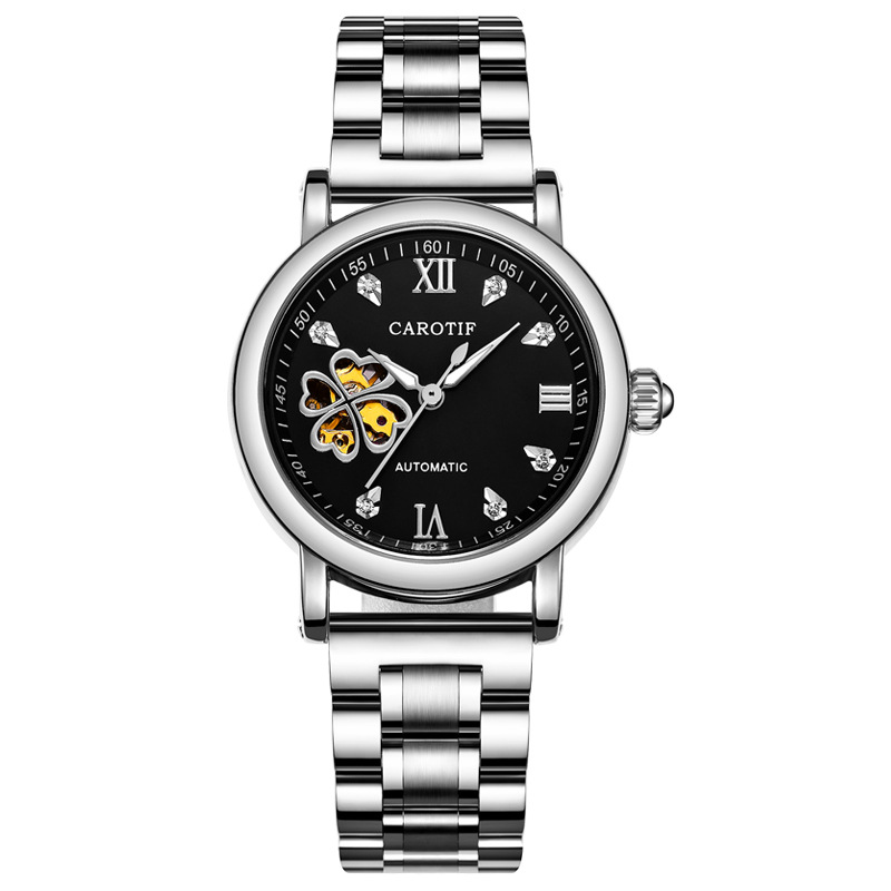 Fashion Rhinestone Mechanical Women's Watch Automatic Hollow Mineral Tempered Glass Mirror Butterfly Double Button Ladies Watch