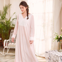 Lace Viscose Long Gowns for Women Long Sleeve Night Gown Women Sleepwear Home Clothes Spring Autumn Night Dress Cotton Bedgown