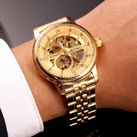 Fashion Luxury Hollow Mens Watch Business Stainless Steel Male Automatic Mechanical Watches Simple Waterproof with Box Genuine