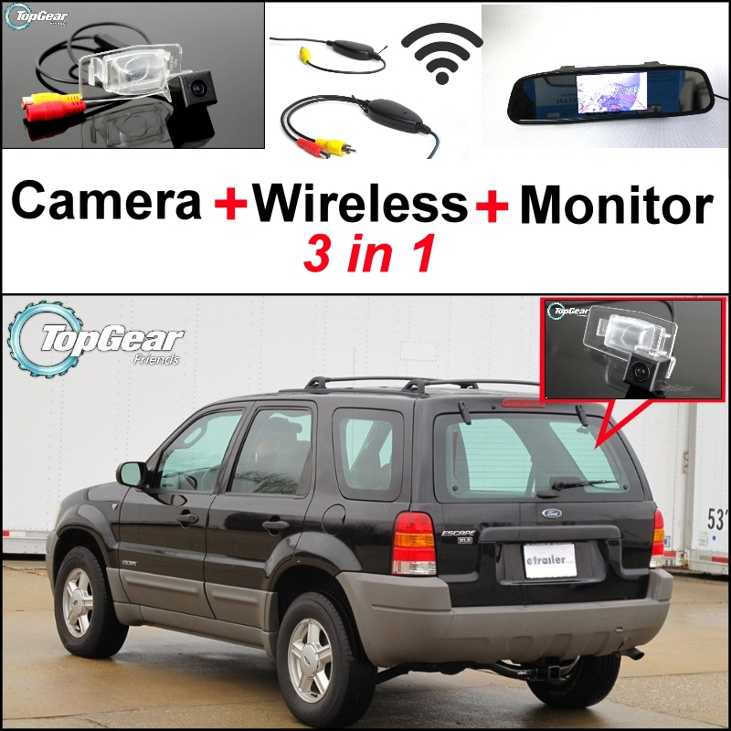 3 in1 Special Camera + Wireless Receiver + Mirror Monitor Easy DIY Back Up Parking System For Ford Escape Maverick Mariner цена
