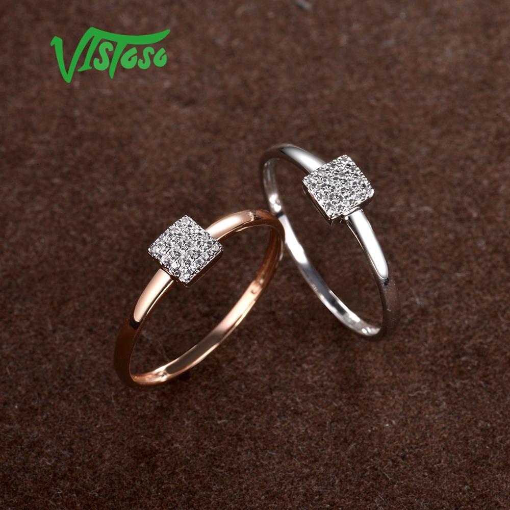 VISTOSO Pure 14K 585 or blanc Rose scintillant diamant délicat bague carrée pour les femmes anniversaire fiançailles bijoux fins à la mode - 4