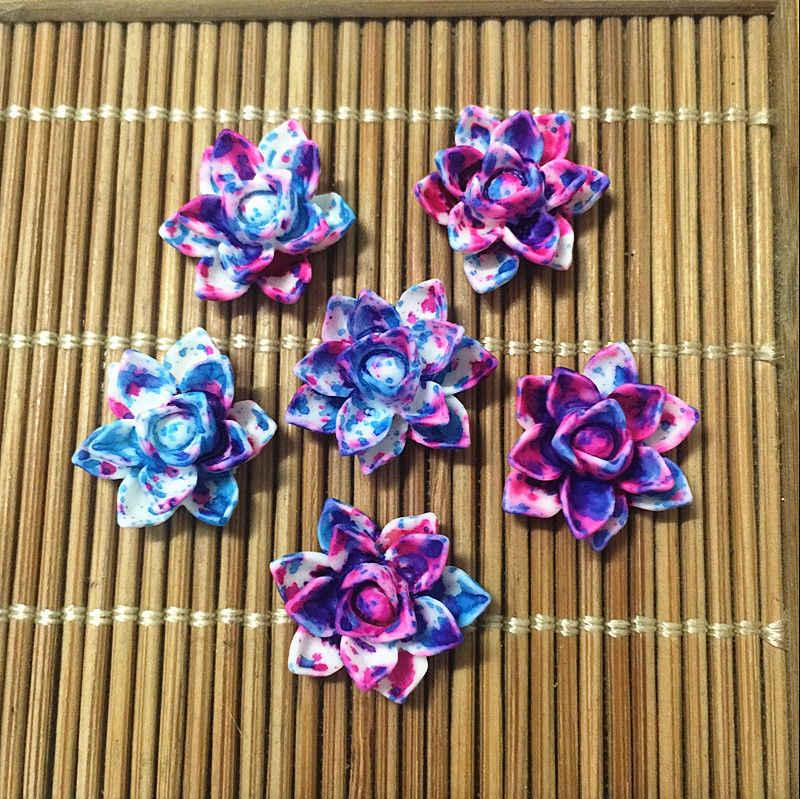 50 pcs de Resina de lótus flores Apliques flatback Para telefone artesanato casamento LH-5