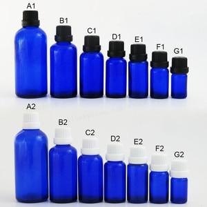 Image 3 - 200 x 5ml 10ML 15ml 20ml 30ml 50ml 100ml Cobalt Blue Mini Glass Essential Oil Bottle With White Black Tamper Evident Cap Reducer