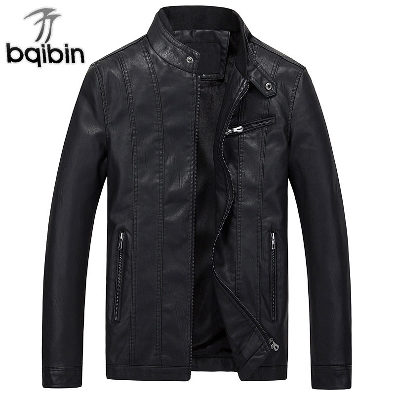 2018 Mens PU Leather Jacket Winter Fleece Motorcycle Leather Coats Men Clothing Stand Collar Male Jacket Slim Fit Fashion