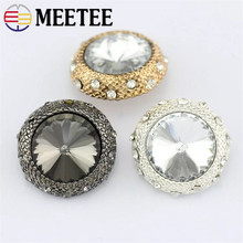 10pcs 20mm Metal Crystal Rhinestone Buttons Women Coat Button Wedding Embellishment Buckle Accessories ZK887