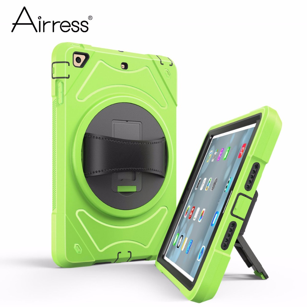 Airress Hand Strap Tablet Case With Swivel Mount Holder Kickstand Rugged Armor Cover for ipad Air for ipad 5