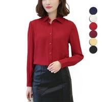 Fashion Women Long Sleeve Chiffon Shirt Blouse Spring Autumn Slim Fit Business Shirts Tops JL