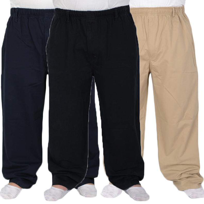 NEW 2020 Fashion Cotton Lose Autumn Winter Elderly Elastic Waist Super Fat Thicken Wide Leg Pants Men Plus Size 8XL