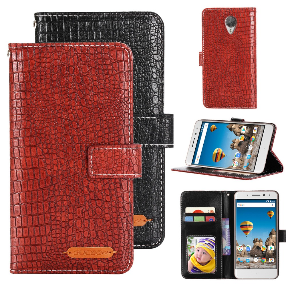GUCOON Crocodile Wallet for General Mobile GM 5 Plus GM5 Plus Case PU Leather Phone Cover for General Mobile GM5 Plus Bag Purse image