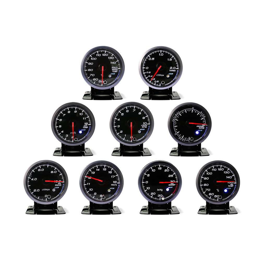 No Logo 60MM Black Face Boost turbo, Water/Oil temp, Oil press, Voltmeter, Air/fuel , Exhaust gas temp, tachometer Auto Gauge/meter