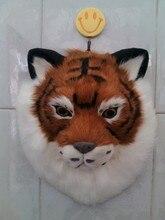 simulation yellow tiger head large 28x22cm model toy polyethylene furs tiger head handicraft wall pandent decoration