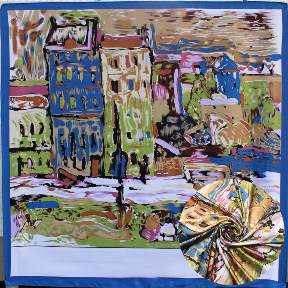 Summer Van Gogh Red House Painting Square   Scarves   Ladys Silk Scarfs Shawls Kerchief Luxury Artistic   Wraps   Multicolor 90*90cm New