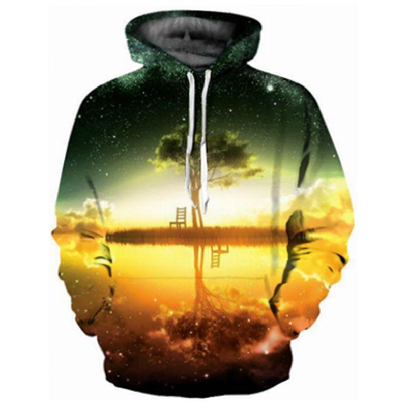 CFYH 2018 Starry Sky 3d Sweatshirt Men/Women Hoodies With Hat 3d Print Tree Pullover Autumn Winter Standard Hooded Hoody Tops
