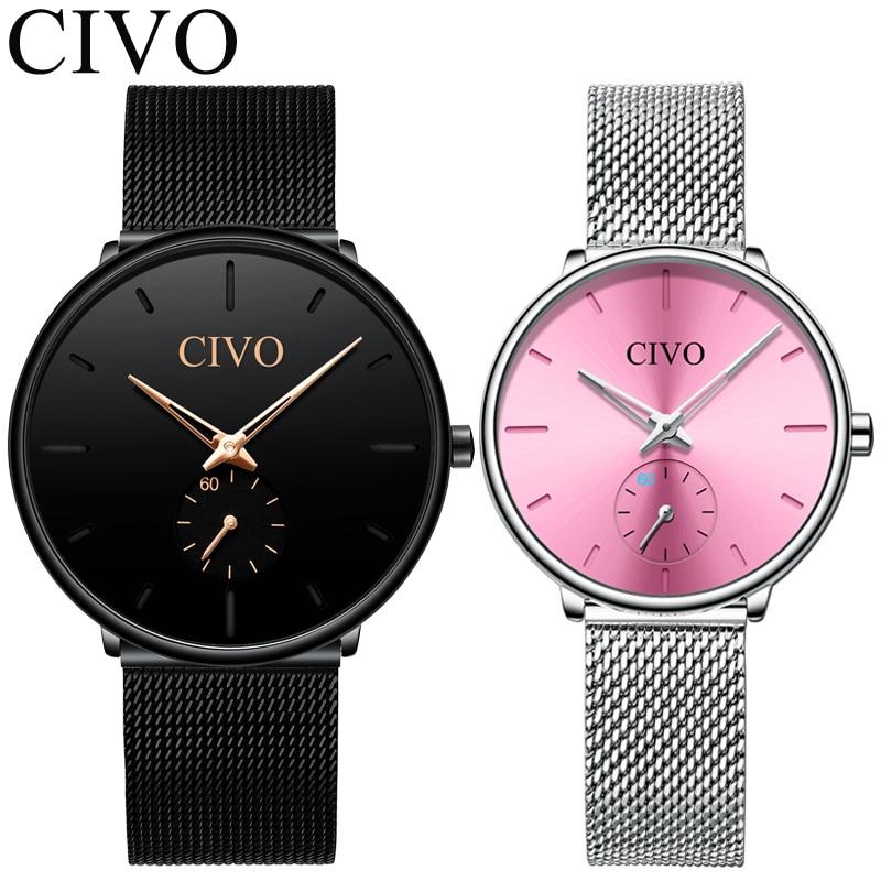 CIVO 2pcs Men Watch Set Top Brand Luxury Women Quartz Watches Waterproof Weistwatch Fashion Casual Couple Watches Reloj Mujer|Quartz Watches| |  - title=