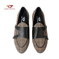 Jeder Schuh/Мужская обувь; мужская повседневная обувь с двойным моном; модные клетчатые лоферы; мужская обувь на плоской подошве с принтом животн