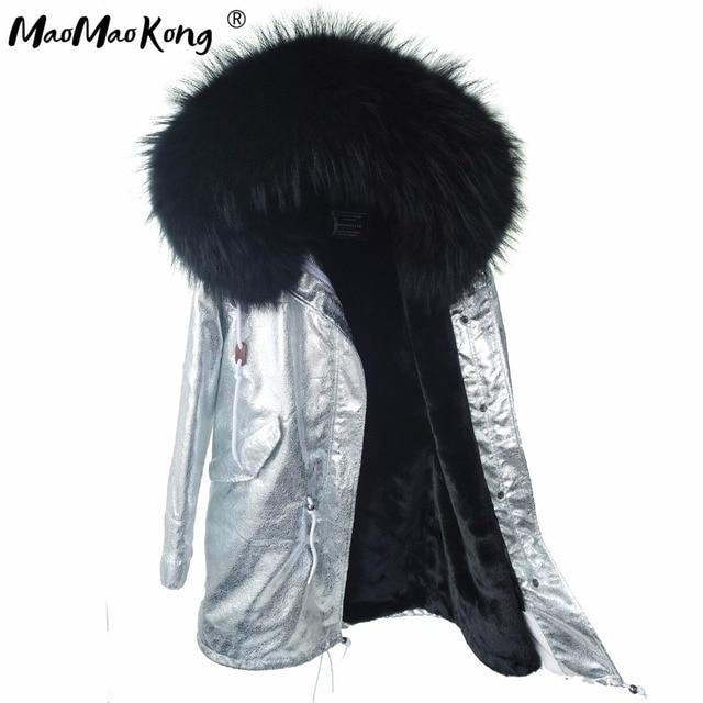 US $161.9 37% di SCONTO|MAO MAO KONG giacche da donna inverno Grande parco naturale reale raccoon collo di pelliccia cappotto di inverno delle donne