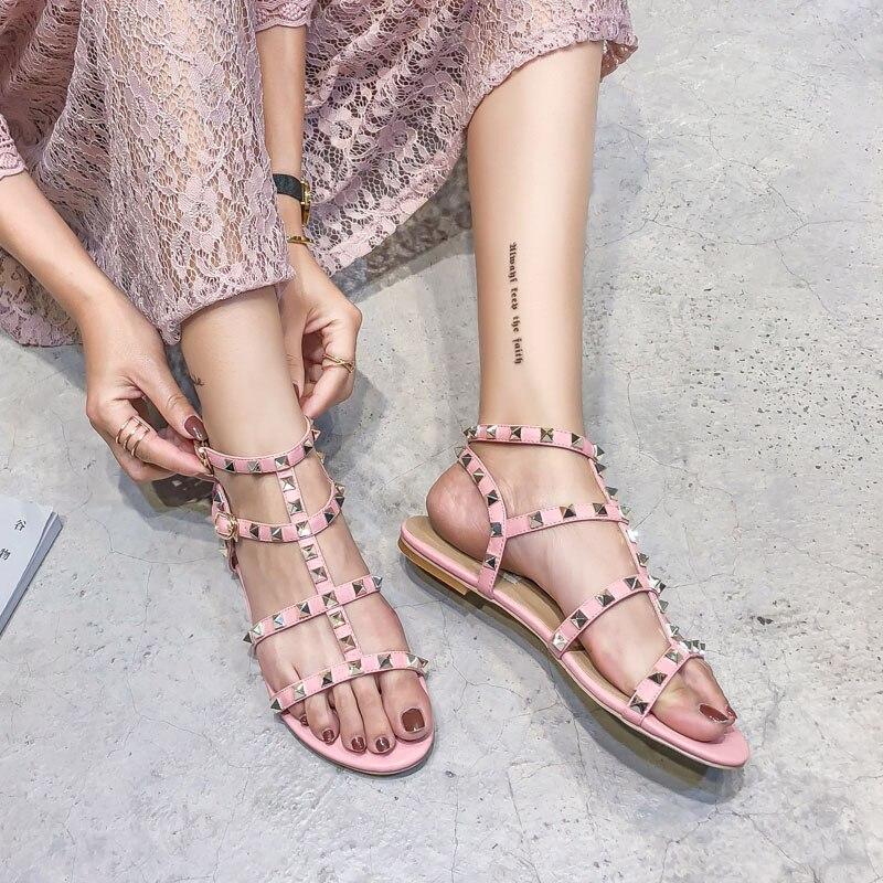 High Quality Fashion Buckle-strap Sandals Women's Shoes Summer Sandals Gladiator Pink Studded Rivet Flat Women Platform Shoes