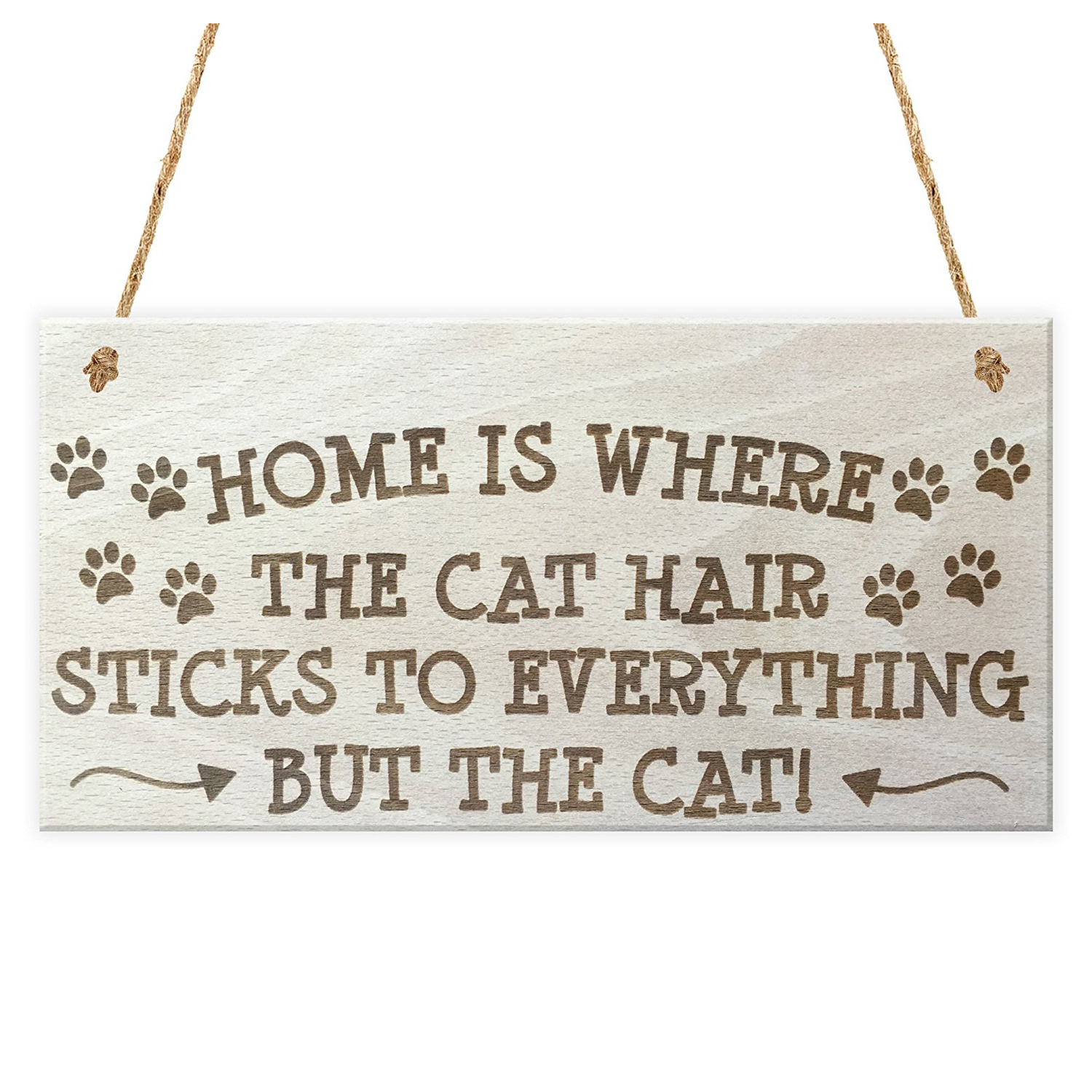 The Best Home Is Where The Cat Hair Sticks To Everything But The Cat Novelty Wooden Hanging Plaque Cats Owner Gift Sign Home Decor Home & Garden