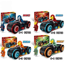 4PCS/LOT Superheroes Avengers Sermoido Marvel Super Heroes Iron Man Motorcycle Figures Building Blocks Bricks Toy