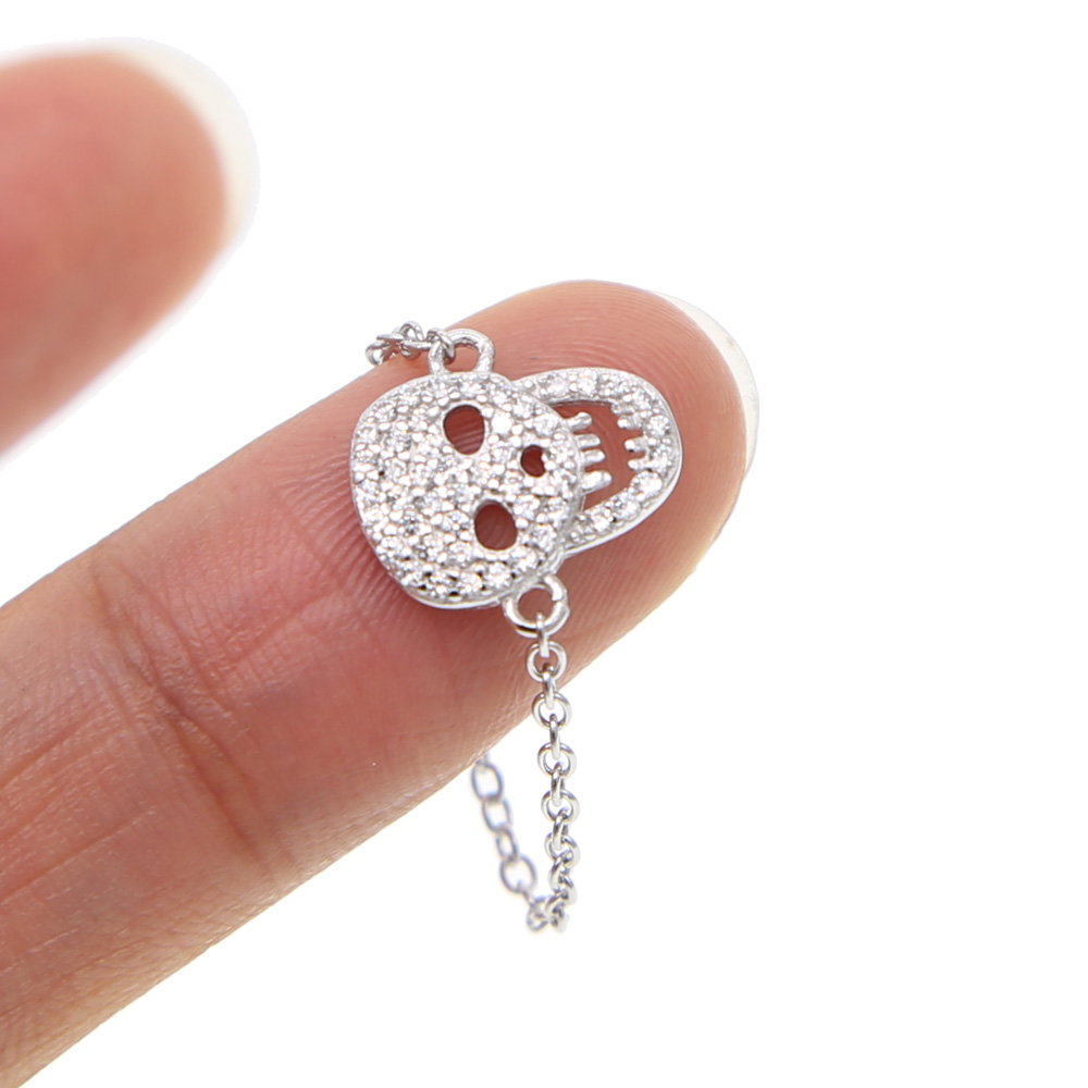 Real 925 Sterling Silver /& Clear CZ Crystal Skull w Hearts Bead Charm Skulls