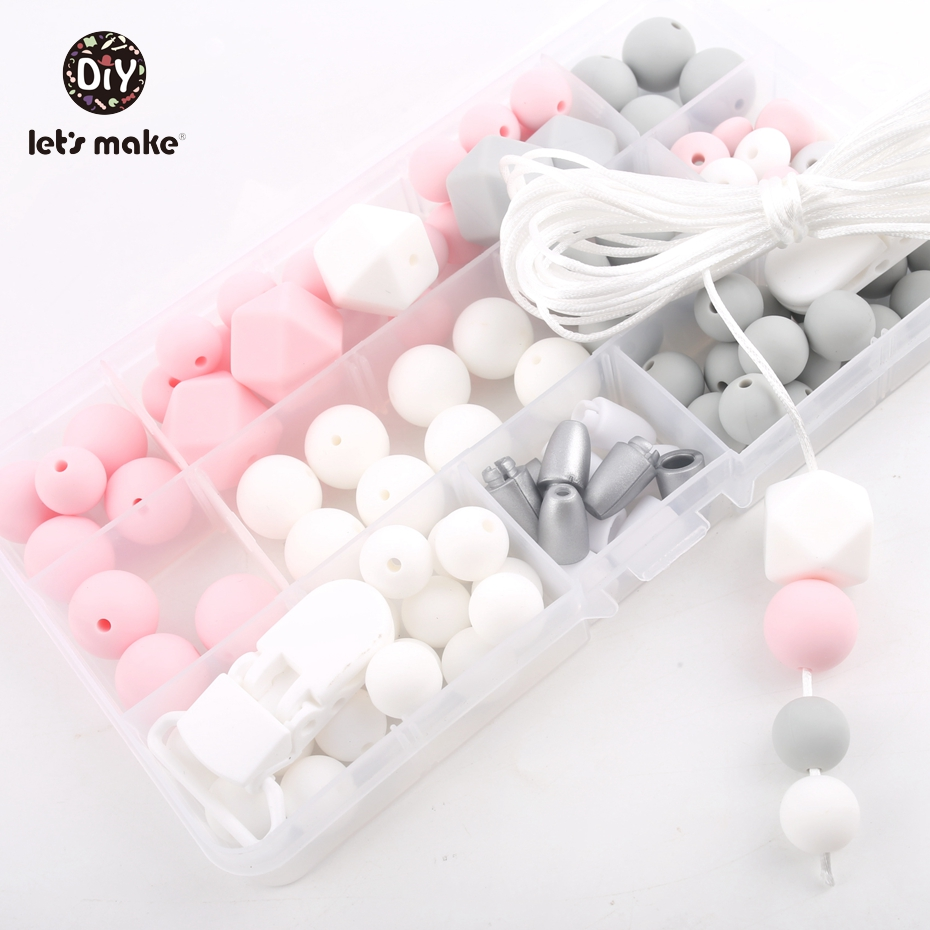 Let's Make Silicone Teether Accessories DIY Beads Set Teething Jewelry Hand Made Pacifier Clip Baby Teether Silicone Beads