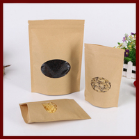 11*16+3 20pcs brown self zip lock kraft paper bags with window for gifts sweets and candy food tea jewelry retail package paper