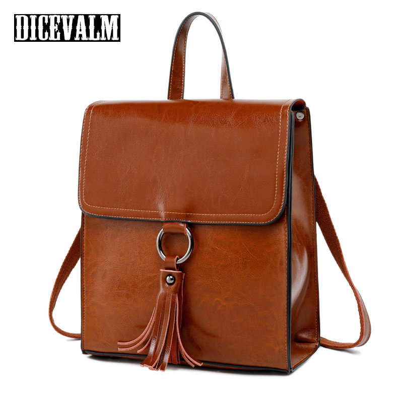 100% Real Genuine Leather Women Backpack Vintage School Bags For Teenagers Famous Brand Tassel Solid Shoulder Travel Bags Female