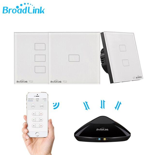 Broadlink TC2 1/2/3Gang EU Standard Light Switch Modern Design White Touch Panel Wifi Wireless Smart Control Via RM Pro/RM4 pro