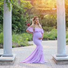 Flat Shoulder Maternity Dresses for Photo Shoot Maternity Photography Props Pregnancy Dress Photography Maxi Dress Gown Pregnant smdppwdbb maternity dress maternity photography props long sleeve maternity gown dress mermaid style baby shower dress plus size