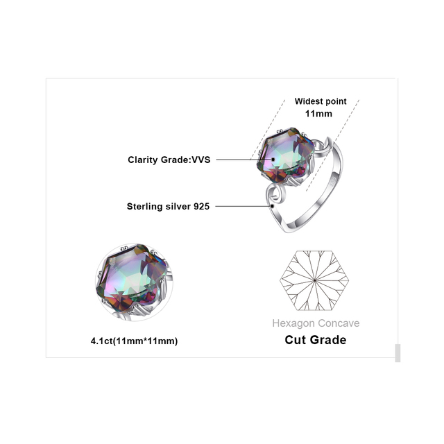JewPalace 4ct Genuine Rainbow Mystic Topaz Ring 925 Sterling Silver Rings for Women Engagement Ring Silver 925 Gemstones Jewelry 4
