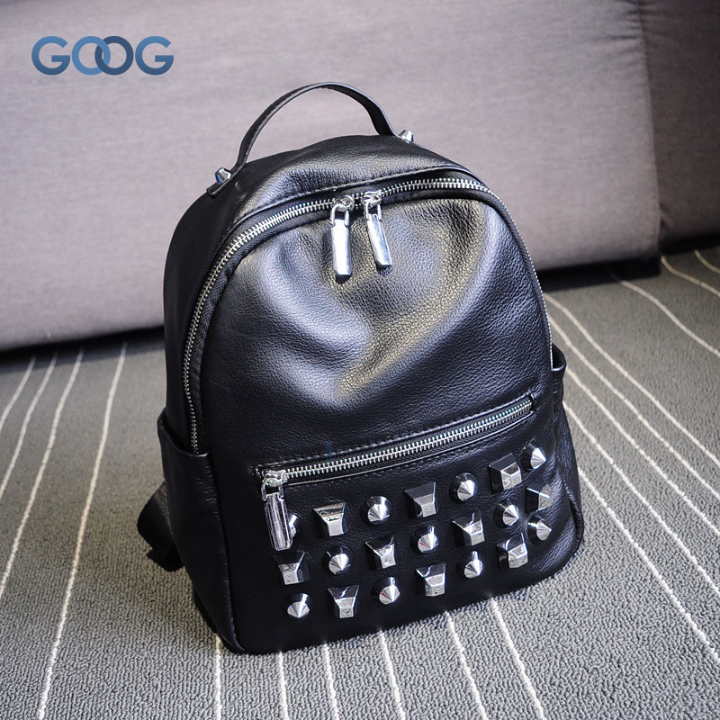 New Korean version of the first layer of leather shoulder backpack fashion rivets tide package personality alternative soft leat new korean version of the first layer of leather pillow bag large lychee pattern handbag shoulder messenger fashion leather leat