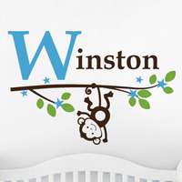 Wall Sticker Boy Monkey With Initial And Name On A Blossom Branch Wall Decal Children S