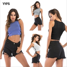 YYFS 2019 High Quality Women Tops Halter Summer crop top Fashion Cotton Womens Sleeveless Camisole Sexy Crop