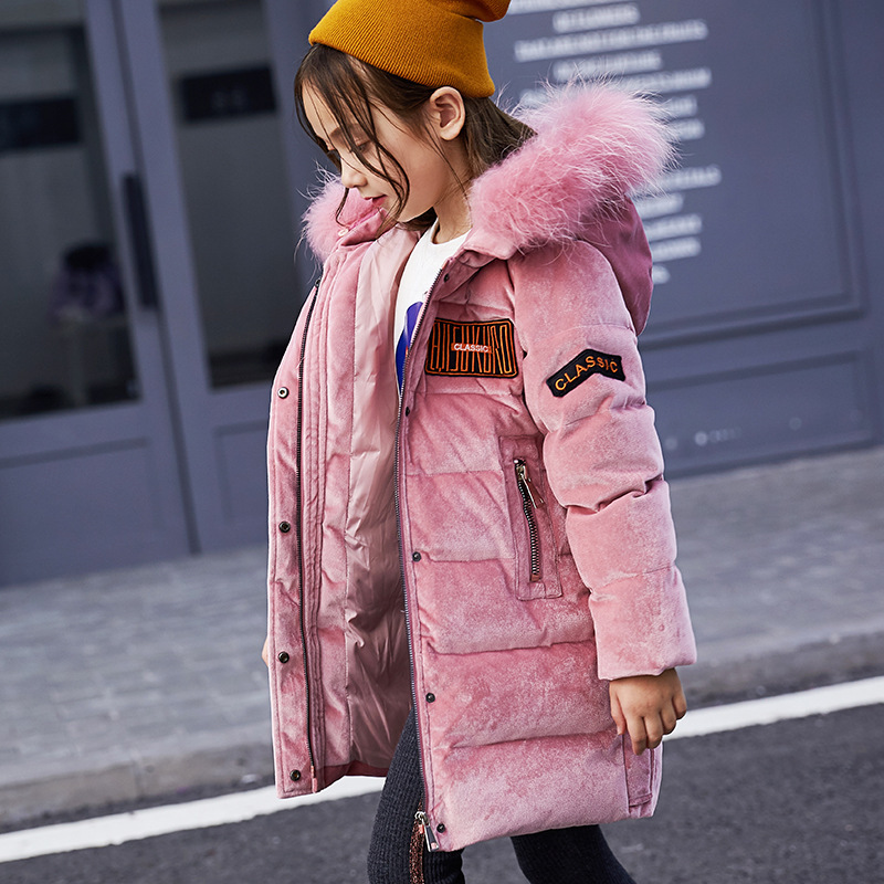 Girls pearlite layer Jackets Children Winter Clothes Girl Coats Warm Fur Collar Hooded long down Coats For Kids Outerwear 30# girls thick winter down coat fur collar warm kids jackets fashion hooded baby girl long coats zipper outerwear children clothes