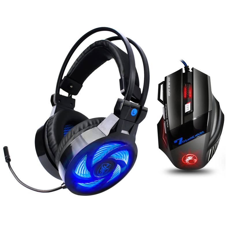 Soyto PS855 Wired Gaming Headset Deep Bass Game Earphone Computer headphones with microphone led light headphones for PC PS4