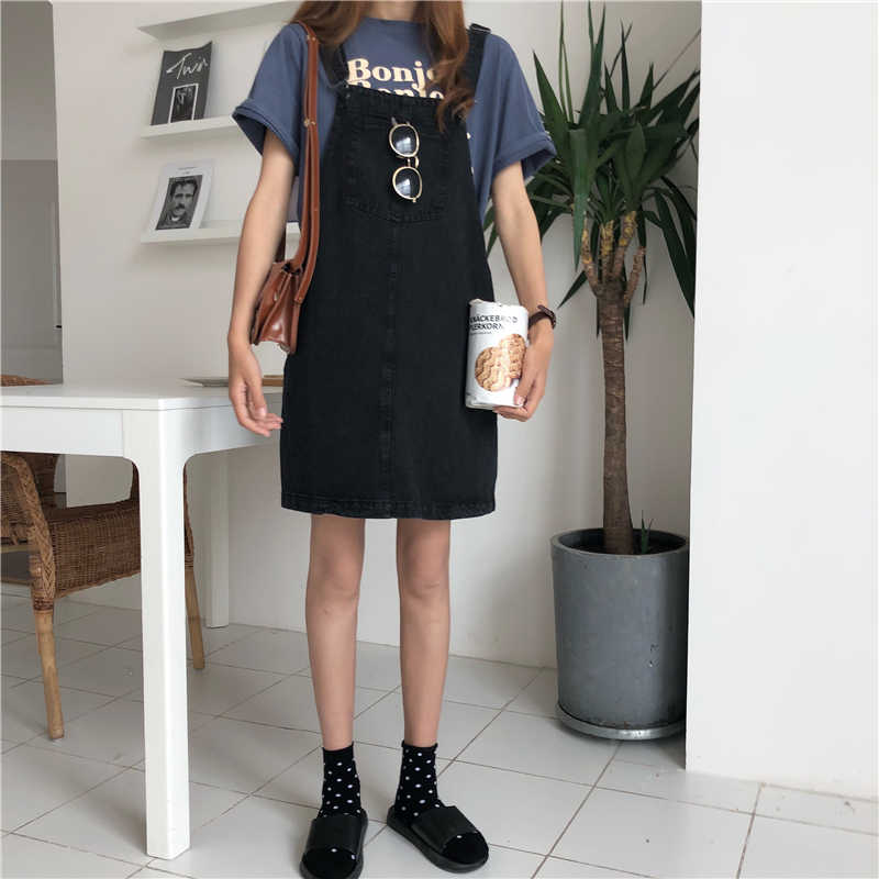 Большой размер милый элегантный дизайн; платье в студенческом стиле; корейский ulzzang платье летние прямые Harajuku bf на лямках из джинсовой ткани сапоги до колена Длина платье