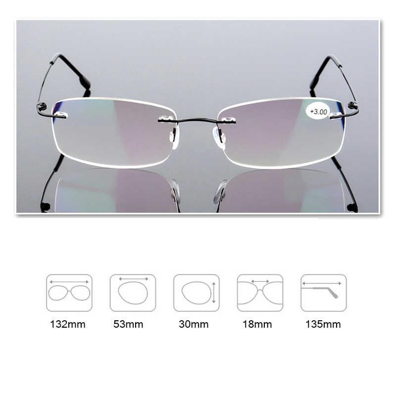 Gafas de lectura sin montura plegables, gafas para presbicia con memoria de hombre y mujer de titanio, 1,0, 1,5, 2,0, 2,5, 3,0, 3,5 y 4,0, s3002