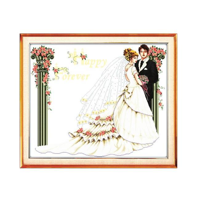 Modern romantic wedding cross stitch kits, bride and groom wedding ...