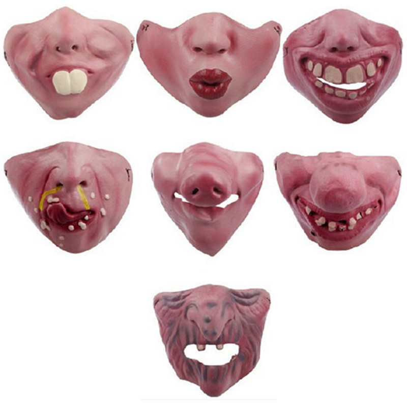Women Men Halloween Latex Scary Mask Party Horror Elastic Band Half Face Ugly Villain Face Masks Funny Costume