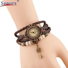 Reloj 2017 New Design Bestselling Quartz Weave Round Leather-based Key Bracelet Woman Girl Wrist Watch 17feb23