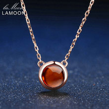 все цены на LAMOON 6mm 1.2ct 100% Natural Round Orange Red Garnet 925 Sterling Silver Jewelry Rose Gold Chain Pendant Necklace S925 LMNI026 онлайн