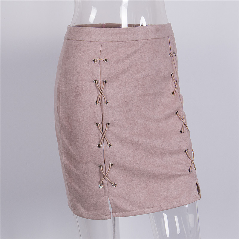 Autumn Winter Lace Up Leather Suede Pencil Skirt 2017 Cross High Waist Skirt Zipper Split Bodycon Short Skirts Womens